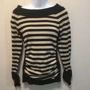 Apostrophe Striped Sweater with Ruched Sleeves